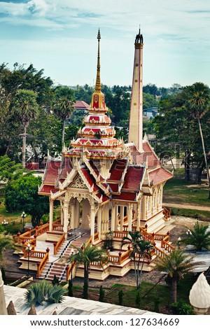 Ancient buddist crematory in Wat Chalong. Thailand, Phuket. - stock photo