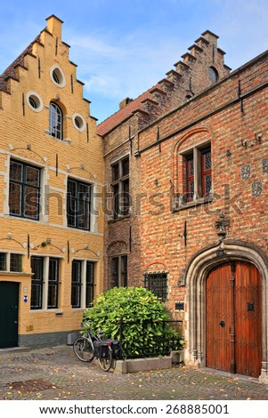 Ancient building of Bruges (Brugge), Belgium. Medieval Gruuthuse-Gruuthusemuseum of applied arts.The ancient city of Bruges is one of the most popular historical and architectural sights of Europe  - stock photo