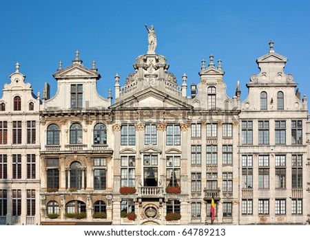 Ancient Buildings In Grand Place, Brussels, Belgium - stock photo