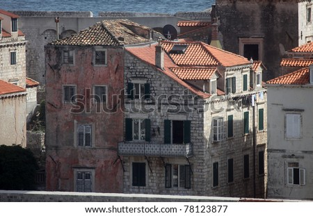 Ancient buildings in the old town of Dubrovnik Croatia - stock photo