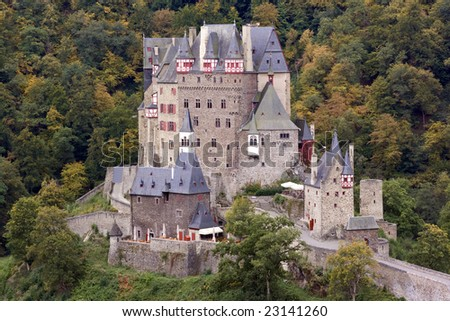 Ancient Burg Eltz Castle in the Autumn in Germany - stock photo