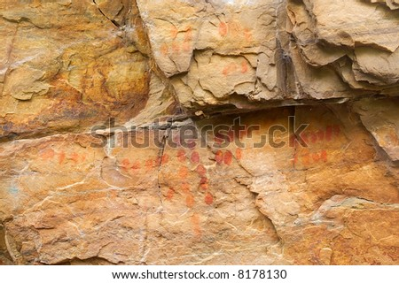 Ancient bushman paintings. Shot in Hottentots Holland Mountains, Vergelegen area, near Somerset West, Western Cape, South Africa. - stock photo