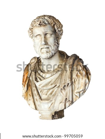 Ancient bust of Roman Emperor Antoninus Pius (Reign 138-161 A.D.) - stock photo