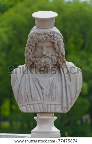 Ancient bust of the greek god Zeus in Petrodvorets. Saint-Petersburg, Russia - stock photo