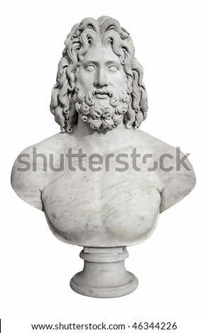 Ancient bust of the greek god Zeus isolated on white with clipping pah - stock photo