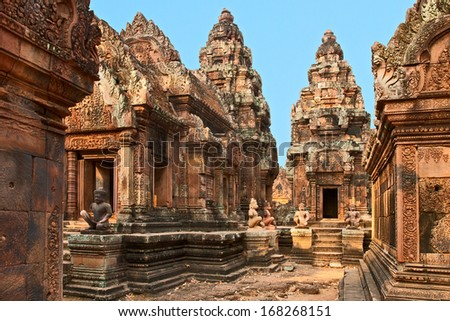 Ancient Cambodian temple Banteay Srei (Pink Temple) - stock photo