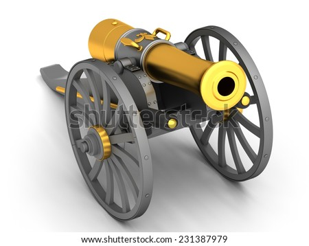 Ancient cannon on wheels isolated on white - stock photo