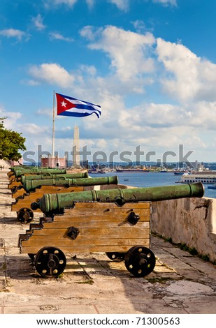 Ancient cannons at a fortress looking at the bay of Havana - stock photo