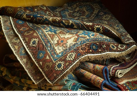 ancient carpets - stock photo