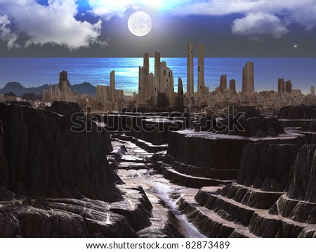 Ancient Castle by Ocean at Moonlight - stock photo