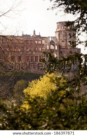 Ancient castle in Heidelberg, Germany - stock photo