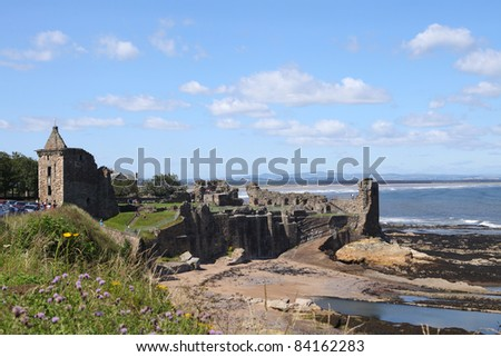 Ancient castle of St Andrews in Scotland - stock photo
