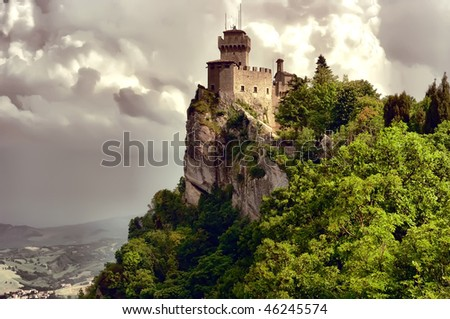 ancient castle on the hill in San Marino