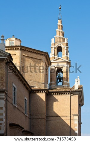 Ancient Catholic Church in Italy on a Beautiful Day, Ancona - stock photo