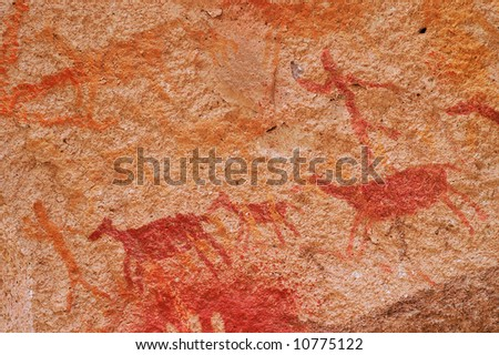 Ancient Cave Paintings in Patagonia - stock photo
