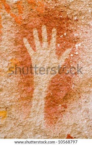 Ancient cave paintings in Patagonia, Argentina - stock photo