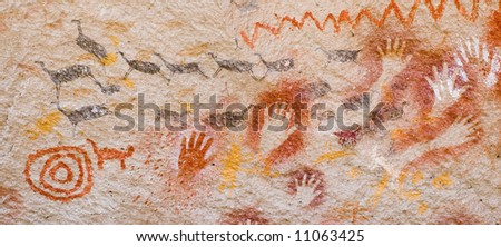 Ancient cave paintings in Patagonia, southern Argentina - stock photo