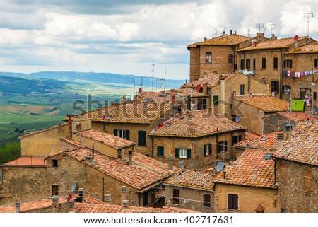 Ancient center of village Volterra, Tuscany, Italy - stock photo