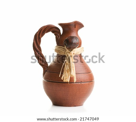 Ancient ceramic vase isolated over white background