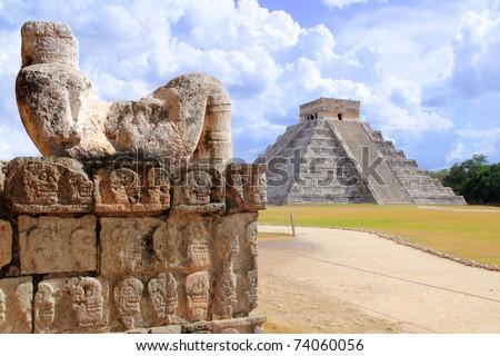 Ancient Chac Mool Chichen Itza human stone figure Mexico Yucatan [Photo Illustration] - stock photo