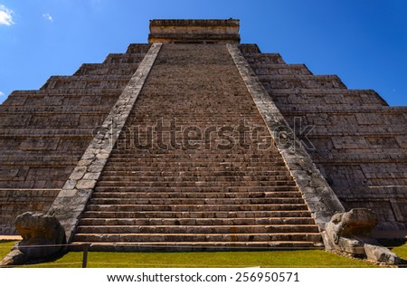 Ancient Chichen Itza Mayan Kukulcan pyramid in Mexico - stock photo