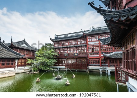 Ancient Chinese Architecture and Gardens - stock photo
