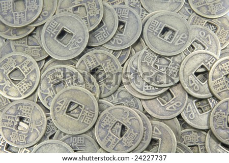 Ancient Chinese Coins Different Types Full Background