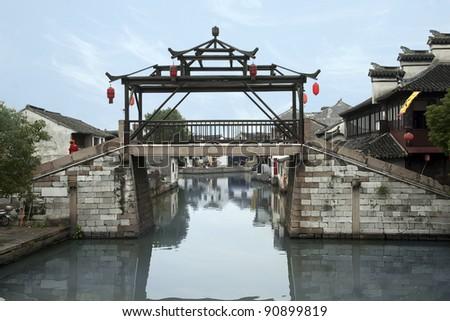 Ancient chinese  river village Tongli near Suzhou - stock photo
