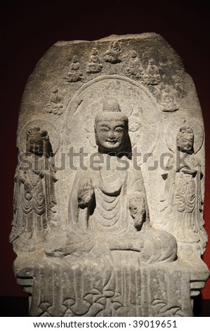 Ancient Chinese stone sculpture inside the biggest museum in Shanghai