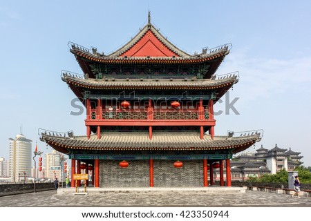 Ancient Chinese Tower Pagoda Famous Xian Stock Photo Safe to Use