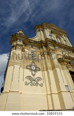 ancient church in malta at the island of gozo - stock photo