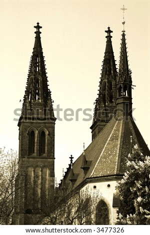 ancient church in Prague, Europe - vintage style photography