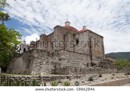 Ancient church of Mitla Oaxaca Mexico - stock photo