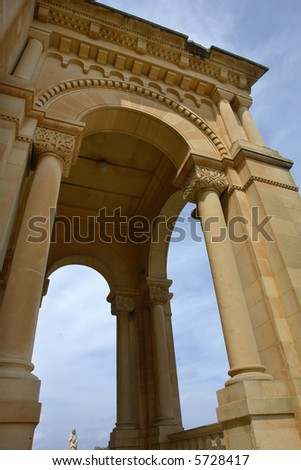 ancient church tower of malta cathedral detail - stock photo