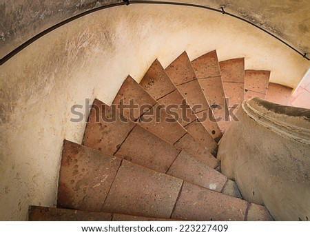 ancient circle stair, The ancient circle stair is making for tower at Petchburi province, Thailand