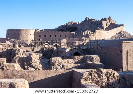 Ancient citadel of Bam, during reconstruction of damage by 2003 earthquake (March 2013) - stock photo
