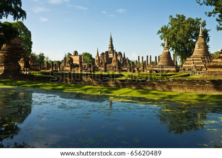 Ancient city in historic national park in Sukhothai province of Thailand - stock photo