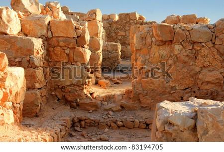 Ancient city Masada in Israel - stock photo