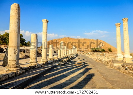 Ancient city of Beit She'an in Israel - stock photo