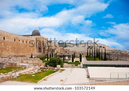 Ancient city of Jerusalem, city of three religions - stock photo
