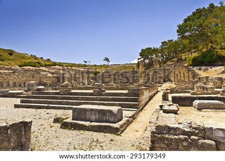 Ancient city of Kameiros on the island of Rhodes. - stock photo