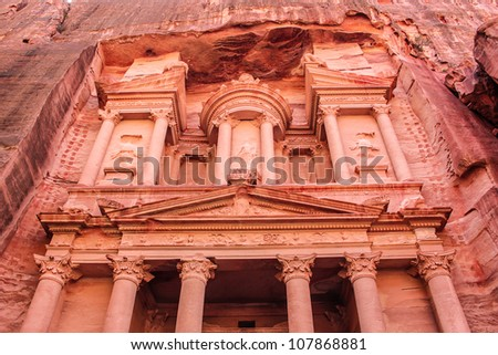Ancient City of Petra Built in Jordan - stock photo