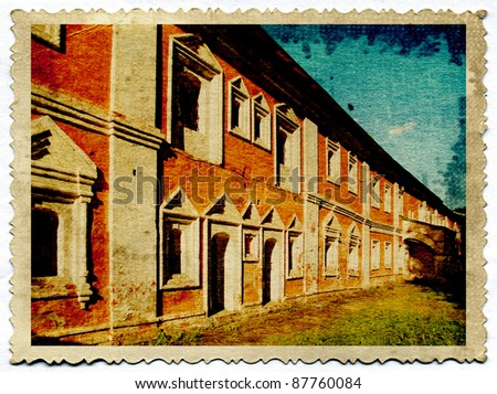 ancient city on old photography - stock photo