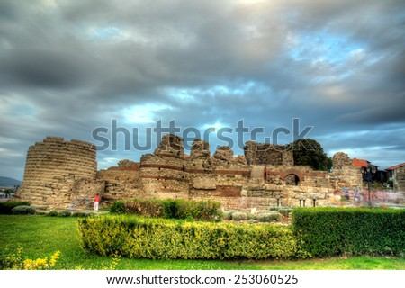 Ancient city wall in the city of Nesebar in Bulgaria - stock photo