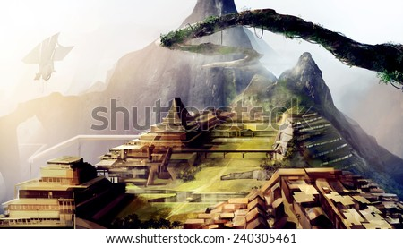 Ancient civilization art. Machu Picchu ancient civilization scifi art illustration with space ships. - stock photo
