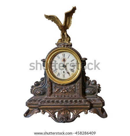 Ancient clock isolated on white - stock photo