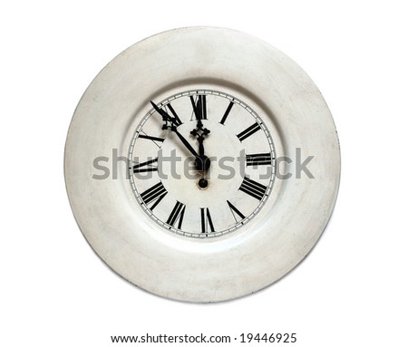 Ancient clock, isolated on white background