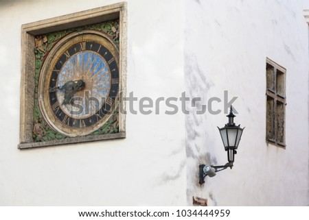 Ancient clock on the wall of the Church of the Holy Spirit in Old Tallinn, master Christian Ackerman 1684