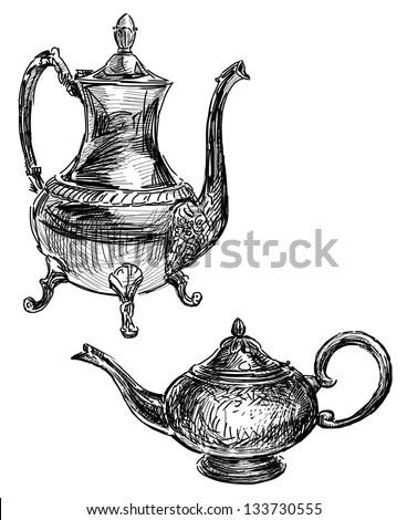 ancient coffee pot and teapot