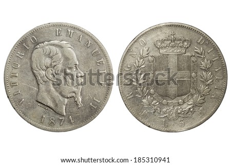 ancient coin 5 lira one thousand eight hundred and seventy-fourth year Vittorio Emanuele II - stock photo